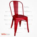 Tolix Sandalye Kolsuz Kırmızı Renk