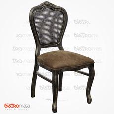 Antik Ahşap Sandalye Siyah Renk