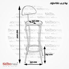 Eko Sırtlı Bar Sandalyesi Ölçüleri